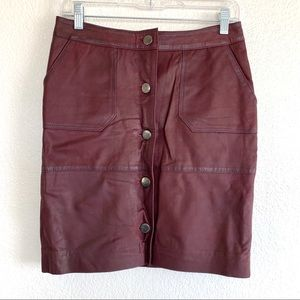 Coster Copenhagen Burgundy Lamb Leather Mini Skirt